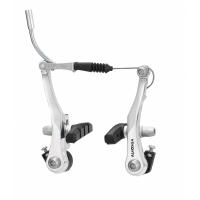 Тормоза V-brake HJ-622AD7 для детских, складных, ВМХ, алюминий, рамки 95мм ALHONGA пружина линейная, серебр., с колодками HJ-601.12 (60мм), 180г/колесо, пер.+зад.
