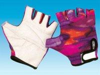 Перчатки  кож. низ с наполнителем лайкровый верх обрез пальцы цветные