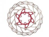 Диск тормозной 140мм нержавеющая сталь ALHONGA серебристый/красный с болтами