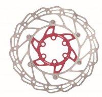Диск тормозной 160мм нержавеющая сталь ALHONGA серебристый/красный с болтами