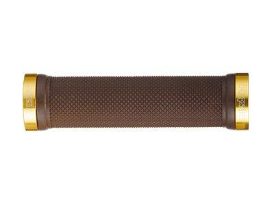 """Грипсы HY-607EP PROPALM 120мм, с 2 грипстопами, поверхность """"dimond"""", коричневый/золото, с заглушками, с упаковкой"""