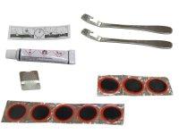 Ремкомплект: резиновый клей 8мл, 8 заплаток D:25мм, наждачка, 2 стальные монтажки MINGDA инструкция, в пластиковой коробочке