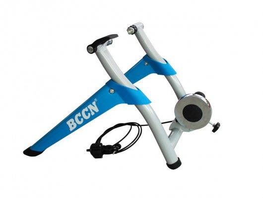 """Велостанок, магнит 8 уровней сопротивления BCCN для 26"""", 700C, 28"""", упор для переднего колеса в комплекте, сталь/пластик, синий"""