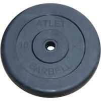 Диски обрезиненные Barbell чёрного цвета, 31 мм, Atlet MB-AtletB31-10