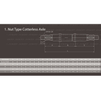 Ось каретки 3MC 32-52-43,5 под гайки NECO Ширина каретки 68мм. Длина оси 127,5мм