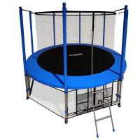 Батут i-Jump 14ft 4,27м с нижней сетью и лестницей (blue)