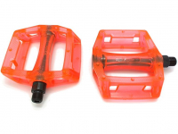 "Педали KAMIGAWA z-0911,DH/BMX. Материал: полимер, ось crmo, 9/16"". Размер: 100х110х28мм. Вес: 195г. Цвет: прозрачный оранжевый"