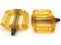 "Педали   KAMIGAWA z-0911,DH/BMX. Материал: полимер, ось crmo, 9/16"". Размер: 100х110х28мм. Вес: 195г. Цвет: прозрачный желтый"