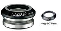 """Рулевая Н52 интегрированная 1-1/8""""х30мм, высота 9,4±0,5мм NECO 71г, промподшипники D:41,8x45*x45*, крышка 7,8мм, алюминий 6061, CNC/ сталь, чёрная, 6 частей"""