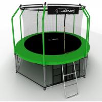 Батут i-Jump Elegant 14ft 4,27м с нижней сетью и лестницей (green)