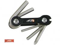Набор инструментов складной 6 в 1 SUPER B шестигранники3/4/5/6мм, спицевой ключ 3,2 мм, отвертка +, красный, торговая упаковка