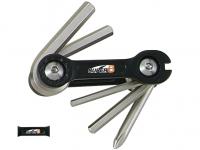 Набор инструментов складной 6 в 1 SUPER B шестигранники 3/4/5/6мм, спицевой ключ 3,2 мм, отвертка +, черный, торговая упаковка