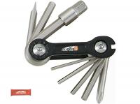 Набор инструментов складной 10 в 1 SUPER B шестигранники 2,5/3/4/5/6/8мм, отвертки +/-, спицевой ключ 3,2 мм, красный, торговая упаковка.