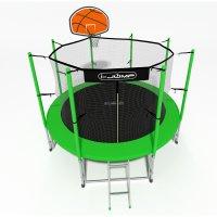 Батут i-Jump Basket 12ft 3,66м с нижней сетью и лестницей (green)