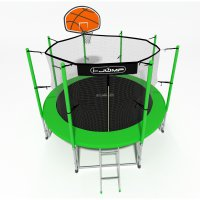 Батут i-Jump Basket 14ft 4,27м с нижней сетью и лестницей (green)