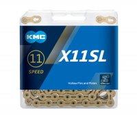 """Цепь KMC X11SL, 11 ск., 1/2"""" х 11/128"""" х 118L, длина пина 5,65мм, суперлёгкая (247г), Shimano, Campagnolo и SRAM 11-sp., серебристая"""