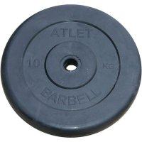 Диски обрезиненные Barbell чёрного цвета, 26 мм, Atlet MB-AtletB26-10
