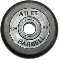 Диски обрезиненные Barbell чёрного цвета, 26 мм, Atlet MB-AtletB26-1,25