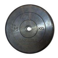 Диски обрезиненные Barbell чёрного цвета, 26 мм, Atlet MB-AtletB26-15