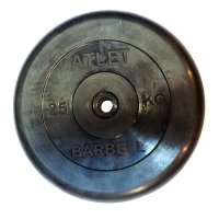 Диски обрезиненные Barbell чёрного цвета, 26 мм, Atlet MB-AtletB26-25