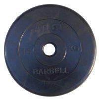 Диски обрезиненные Barbell чёрного цвета, 50 мм, Atlet MB-AtletB50-15