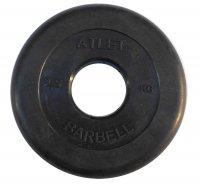 Диски обрезиненные Barbell чёрного цвета, 50 мм, Atlet MB-AtletB50-2,5