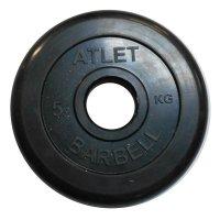 Диски обрезиненные Barbell чёрного цвета, 50 мм, Atlet MB-AtletB50-5