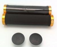 ГРИПСЫ X-TAZ-Y RSK-09/2, 22х135, кратон, с двумя грипстопами, с заглушками, чёрные с золотом