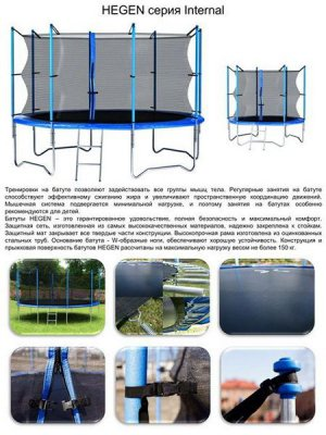 Батут с внутренней сеткой и лестницей Hegen Internal 10 ft (305 см)