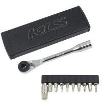 Ключ-трещотка Kellys MATE чёрный с 11 битами: шестигранники 2/2,5/3/4/5/6/8, T25/T10, Philips, шлицевая отвёртка, в стильном алюминиевом кейсе