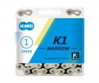"""Цепь  KMC K1 NARROW, 1 ск., 1/2x3/32""""х112"""", серебр./чёр., в торг.уп."""