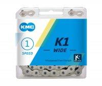 """Цепь  KMC K1 WIDE, 1 ск., 1/2x1/8""""х110, серебр./чёр., в торг.уп."""