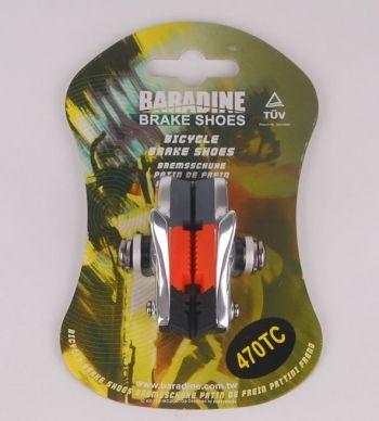 Колодки BARADINE тормозные 470TC шоссейные, картриджные, 55мм, серебр.корпус, трёхцветный картридж, совместимы с большинством шоссйных тормозов, в торг.уп.