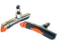 Колодки BARADINE тормозные ABS-01VC для V-brake, картриджные, резьбовые, 72мм, чёрно-оранж. картридж в сером корпусе, защита от залипания, в торг.уп.