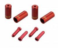 Наконечники оболочек JAGWIRE  (10х4,5мм, 6х5мм) и тросов (4шт.) красные. Комплект