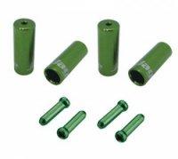 Наконечники оболочек JAGWIRE  (10х4мм, 6х5мм) и тросов (4шт.) зелёные. Комплект
