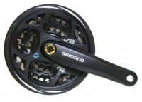 Шатуны SHIMANO FC-M311 ACERA на 7/8 скоростей, 170мм, 48/38/28T, под квадрат, с защитой, черные