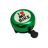 "Звонок  TBS ""I LOVE MY BIKE"" зелёный, сталь/пластик"