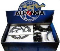 Тормоза ALHONGA дисковые мех. HJ-MD11+HJ-327ADV+2P передний+задний с торм. ручками и роторами 160мм, в коробке