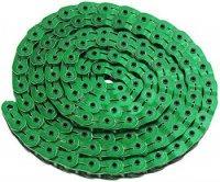 """Цепь YBN MK926, 1 ск., 1/2""""X1/8""""X102, халфлинковая, зелёная, в торг.уп., перфорированная, высокопрочные полые хромированные пины, высокая прочность на разрыв"""