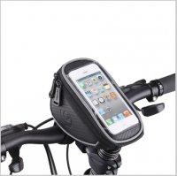Сумка для велосипеда  TBS Mingda на руль и вынос L17,5хH8,5хW10,5 с отделением для смартфона 16,5х8,5см, крепление на липучках, материал ...