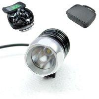 Велосипедный и налобный фонарь FanShine 1600-люмен, 3 режима. (черный-серебристый)