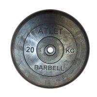 Диск обрезиненный Barbell чёрного цвета, 31 мм, Atlet MB-AtletB31-20