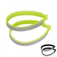 Зажимы для штанин  NUVO пластиковые со световозвращающими стикерами, зелёный/чёрный (на выбор)